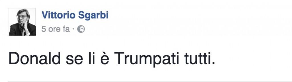 """Donald Trump, Vittorio Sgarbi su Facebook: """"Se li è Trumpati tutti"""""""