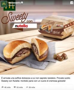 """Pane e Nutella da McDonald's: arriva """"Sweety con Nutella"""" FOTO"""