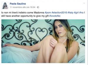 """Paola Saulino come Madonna: """"A chi vota No al referendum... E io mantengo le promesse"""""""