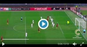 Diego Perotti video gol rabona Roma-Viktoria Plzen 4-1
