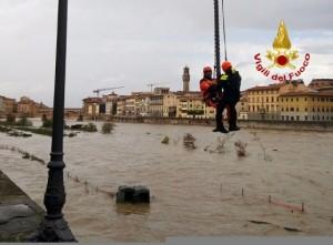 Maltempo in Toscana, Arno: livelli in calo a Firenze
