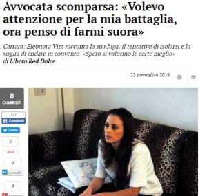 Eleonora Vita, la notizia pubblicata dal Tirreno