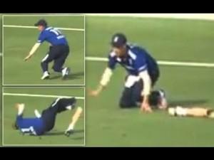 YOUTUBE Liam Thomas perde gamba durante partita cricket