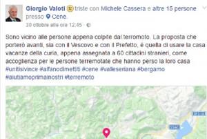 """Giorgio Valoti: """"A Cene preferirei ospitare terremotati piuttosto che migranti"""""""