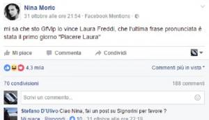 """Nina Moric su Facebook: """"Laura Freddi vincerà il Grande Fratello Vip"""""""