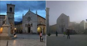 Guarda la versione ingrandita di Terremoto castigo divino, andrebbero fulminati...da Dio (nella foto Ansa, la basilica di San Benedetto a Norcia prima e dopo il sisma)