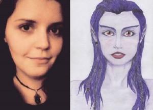 Guarda la versione ingrandita di Nella foto Lea Kapiteli e un suo disegno versione aliena