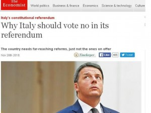 "Referendum, Economist si schiera: ""Votate No, poi governo tecnico"""