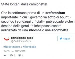 """Referendum, Bartolomeo Pepe: """"Bombe e Bombette. State lontani dalle camionette"""""""