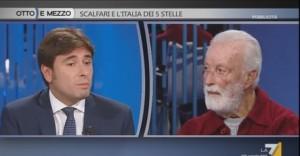 """M5s, Scalfari a Di Battista: """"un comico, Beppe Grillo, domina un movimento politicamente comico"""""""