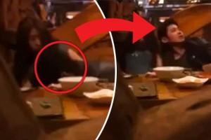 Guarda la versione ingrandita di Coppia sorpresa nel ristorante dalla cameriera mentre...