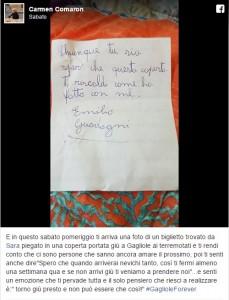 """Terremoto, bambino di Treviso invia piumino e lettera: """"Spero ti possa scaldare come ha scaldato me"""" FOTO"""