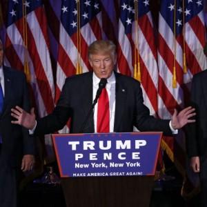 Donald Trump alle prese col primo discorso da presidente (foto Ansa)