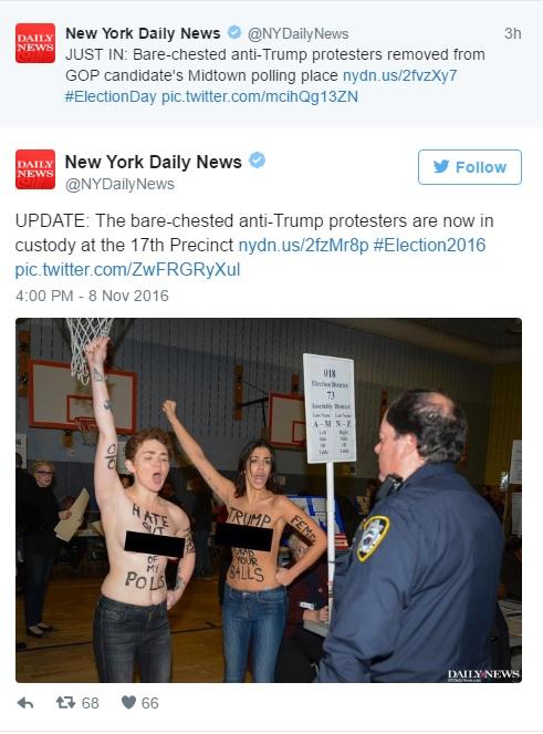 New York, in tolpess davanti al seggio per protestare contro Donald Trump2