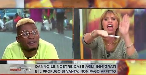 Alessandra Mussolini contro il rapper Bello Figo: le immagini della lite