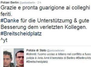 Anis Amri, polizia tedesca twitta in italiano