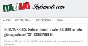 Referendum, è una bufala la notizia più condivisa sui social