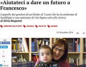 """Francesco, malato della sindrome di Sanfilippo. I genitori: """"Aiutatecia dargli un futuro"""""""