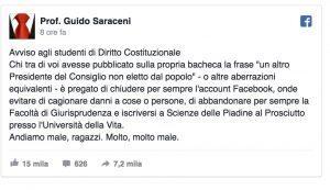 """""""Ancora un premier non eletto"""", Prof su Facebook: """"Chi l'ha scritto lasci Giurisprudenza"""""""