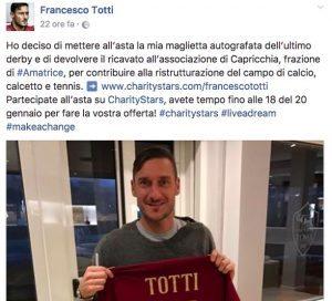 Francesco Totti per Amatrice: all'asta la maglia numero 10 del derby