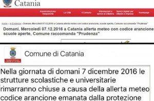 Catania, scuole chiuse mercoledì 7 dicembre 2016: elenco comuni. E bufala Whatsapp...