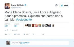 """Governo Gentiloni, Di Maio sarcasmo: """"Squadra che perde non si cambia"""""""