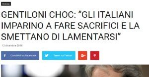 """Gentiloni bufala: """"Italiani smettano di lamentarsi"""". E sul web..."""