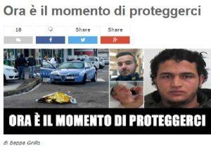"""Anis Amri, Grillo: """"Rimpatriare tutti irregolari"""". Salvini: """"Stop a ogni forma di immigrazione"""""""