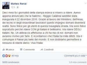 """Salerno-Reggio Calabria, Matteo Renzi esulta su Fb: """"Autostrada è finalmente finita"""""""