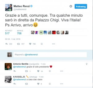 "Referendum, Renzi tweet dopo disfatta: ""Grazie a tutti, viva l'Italia"""