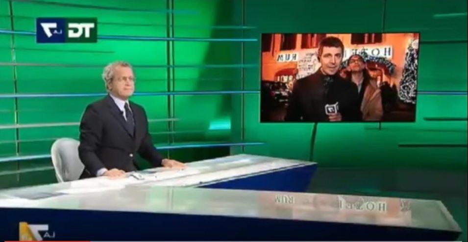 Paolini il disturbatore irrompe in diretta tv, Mentana furioso: