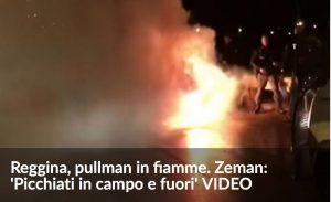 Messina, pullman Reggina va a fuoco