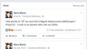 """Nina Moric su Facebook: """"Vota sì per il Napoli fuori dall'Europa"""". E la accusano di razzismo"""
