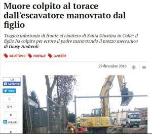 Padova: muore colpito al torace dall'escavatore manovrato dal figlio