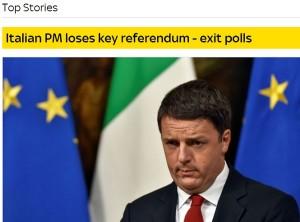 Referendum: sconfitta di Renzi sui siti di tutto il mondo