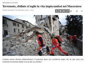 Terremoto, suicidio a Camporotondo (Macerata): meccanico rimasto senza casa si impicca nel bosco