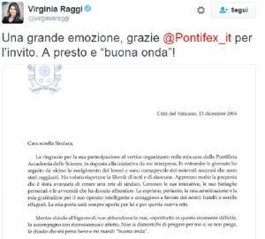 """Virginia Raggi: """"Che emozione lettera di Papa Francesco"""". Ma era uguale per 80 sindaci..."""