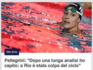 Federica Pellegrini e il ciclo, gaffe Eurosport: foto con acqua rossa