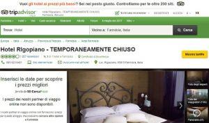 """Hotel Rigopiano, per Tripadvisor è """"temporaneamente chiuso"""""""