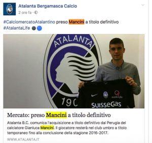 Calciomercato Atalanta: preso Mancini, ma rimane a Perugia
