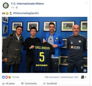"""Calciomercato Inter, Gagliardini: """"Suning vuole una squadra che vinca tutto"""""""