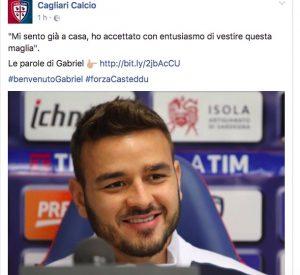 """Calciomercato Cagliari, Gabriel si presenta: """"Dida il mio modello"""""""