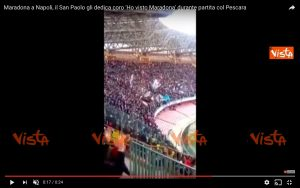 YOUTUBE Napoli-Pescara, coro per Diego Armando Maradona