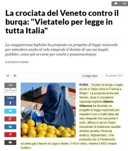 """""""Burqa vietato in tutta Italia"""": Lega Nord in Regione Veneto propone legge nazionale anti-velo"""