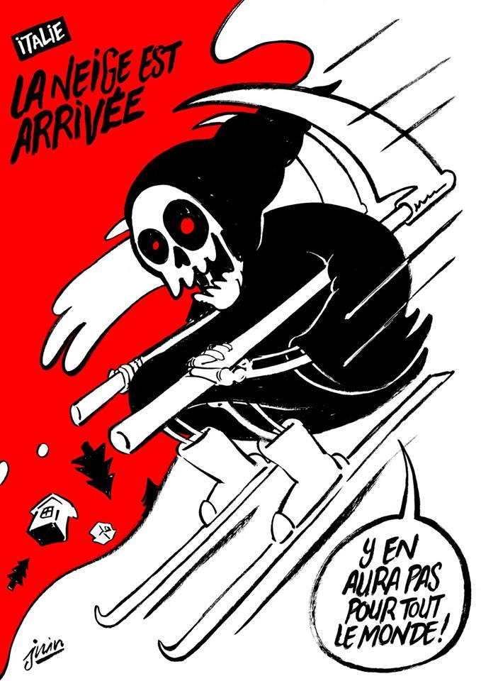 Charlie Hebdo, satira sulla tragedia dell Hotel Rigopiano