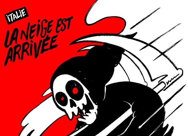 Tragedia hotel Rigopiano, Charlie Hebdo ironizza: