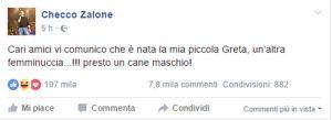 """Checco Zalone di nuovo papà, su Fb annuncia: """"E' nata Greta, ma il cane sarà maschio"""""""