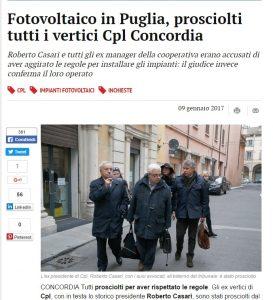 Cpl Concordia, ex vertici coop prosciolti dalle accuse: su fotovoltaico in Puglia rispettavano le regole