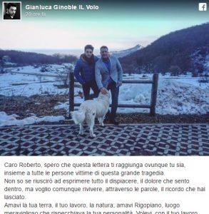 """Hotel Rigopiano, Gianluca Ginoble de Il Volo: """"Addio Roberto..."""""""