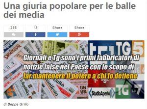 """Beppe Grillo: """"Giuria popolare contro balle stampa e tv"""""""